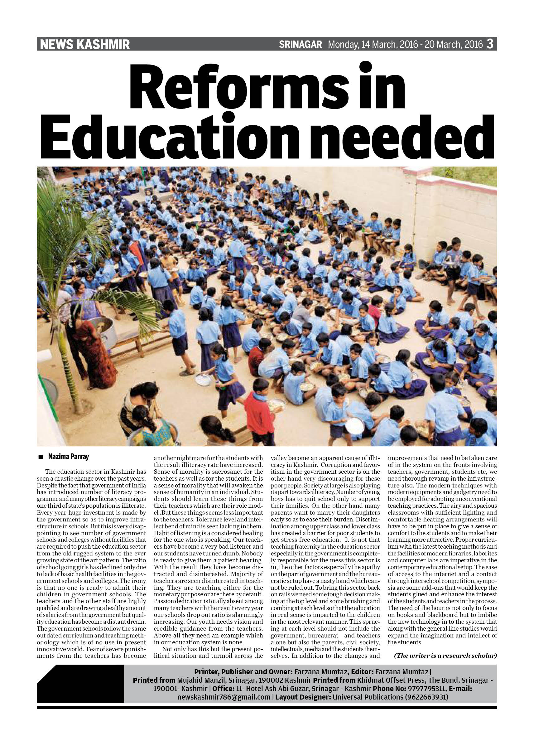 Reforms in Education needed