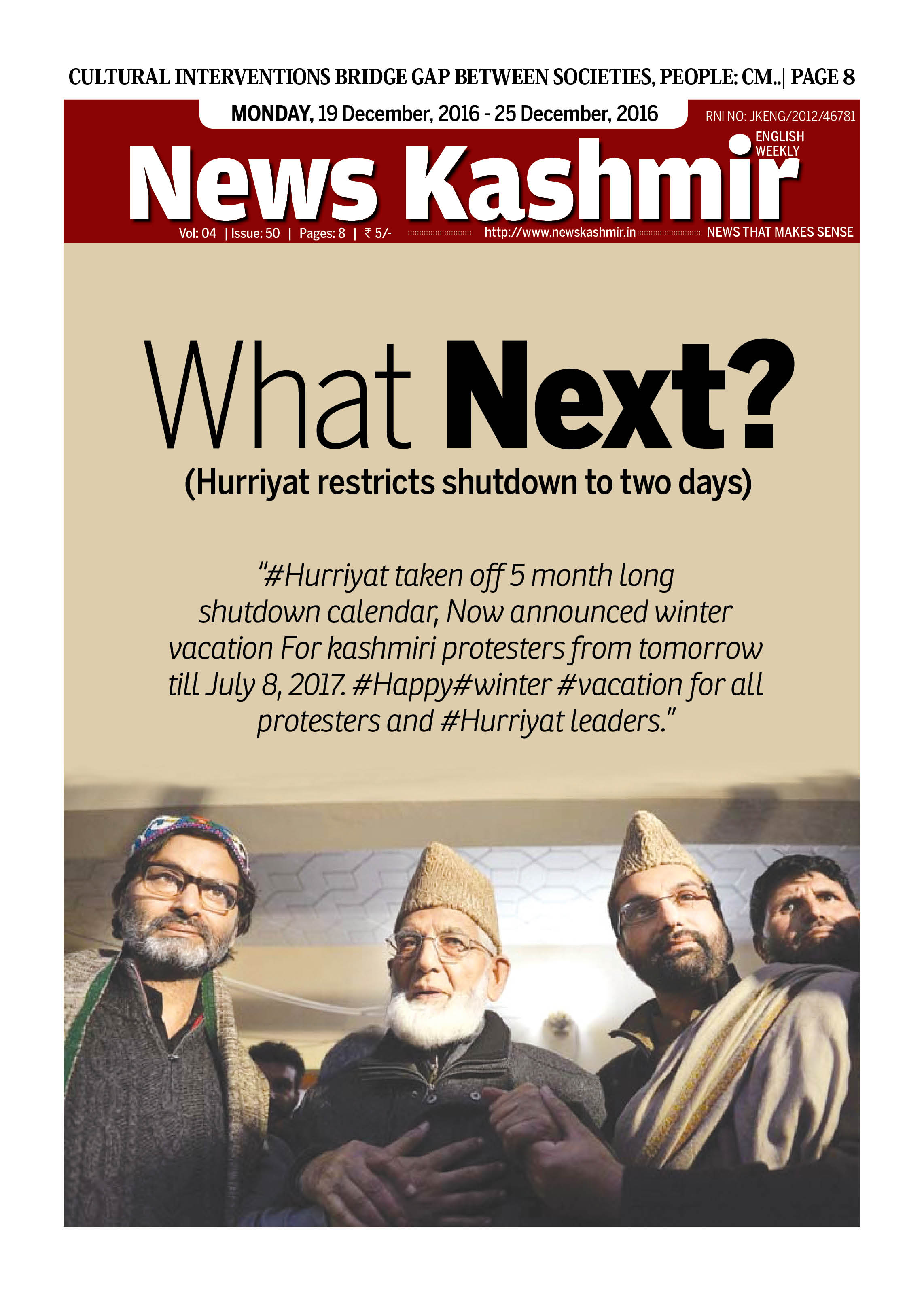 What Next? (Hurriyat restricts shutdown to two days)
