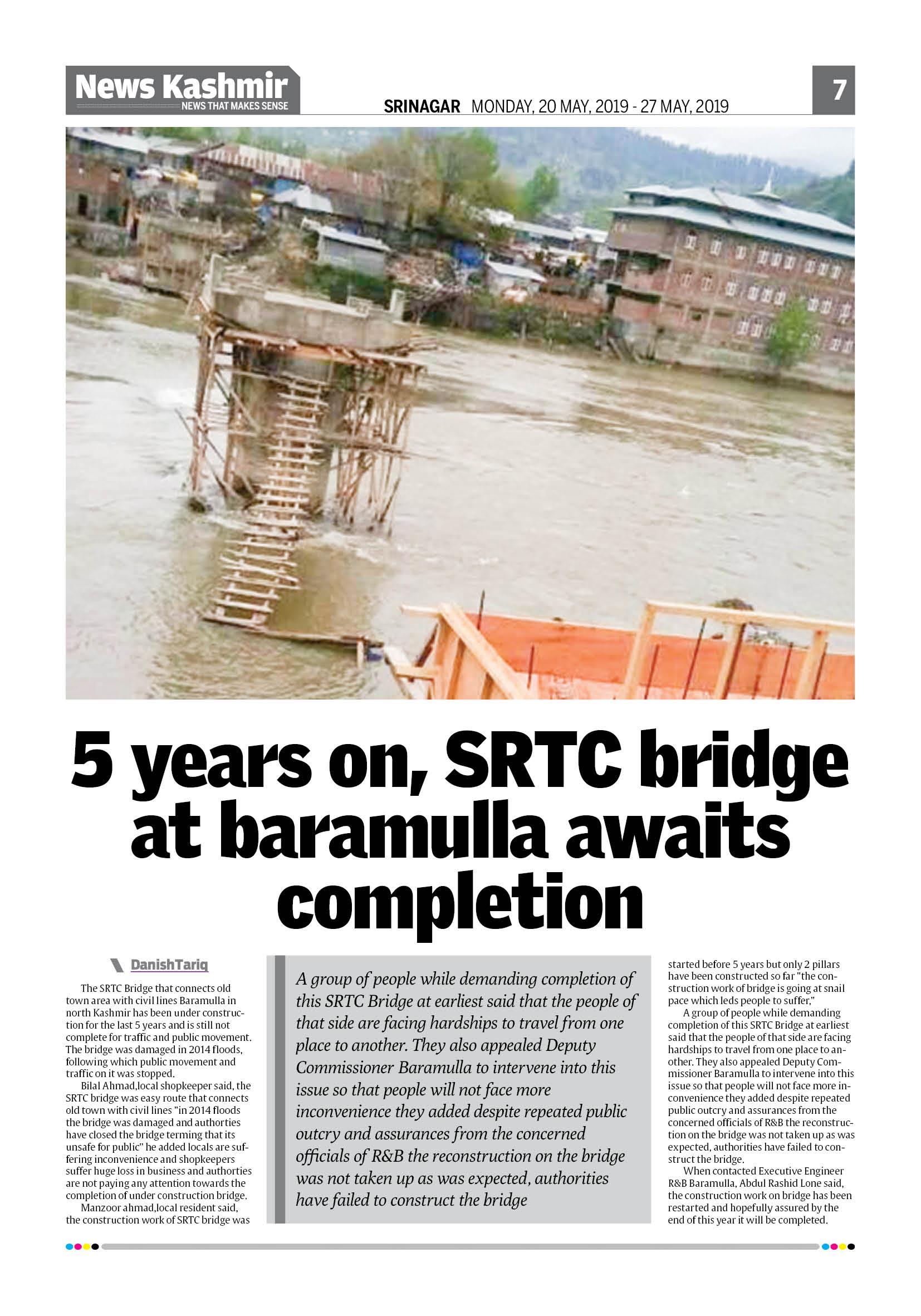 5 years on,SRTC bridge at Baramulla awaits completion